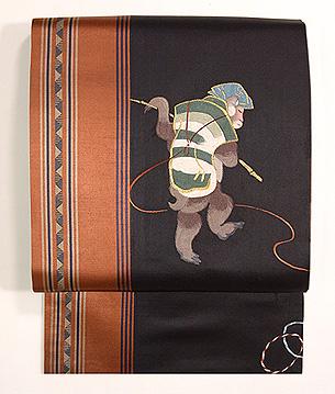 靭猿(うつぼざる)刺繍名古屋帯