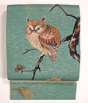 ふくろうの刺繍名古屋帯