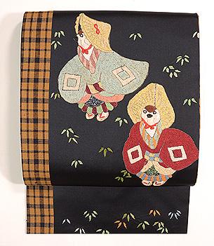 雀踊り刺繍名古屋帯