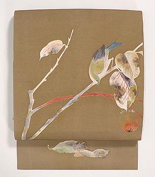 柿の実と鳥の図名古屋帯
