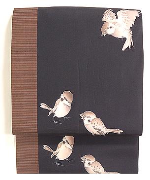 雀たちの切継名古屋帯