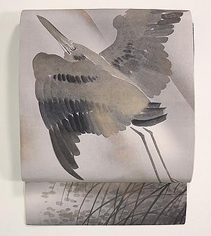 黒鷺の図塩瀬名古屋帯