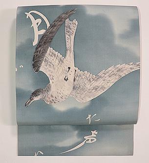 大空に鳩染名古屋帯