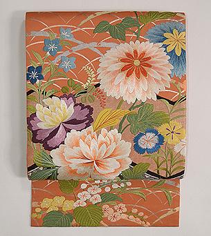 秋の花尽くし刺繍袋帯