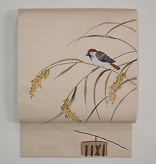 雀と稲穂刺繍帯