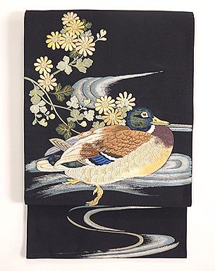 真鴨刺繍丸帯
