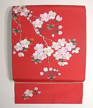 赤地桜の刺繍開き名古屋帯