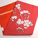 赤地桜の刺繍開き名古屋帯 帯裏