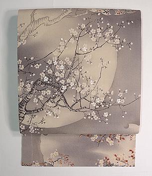 満月に桜刺繍帯