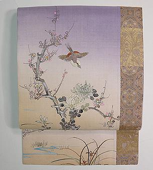 春霞、梅に鶯刺繍名古屋帯
