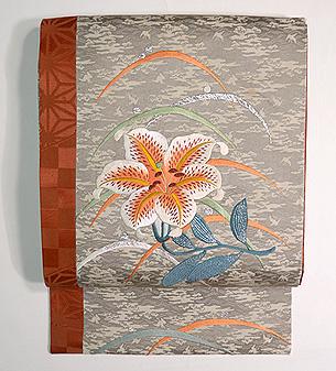 山百合の図刺繍名古屋帯