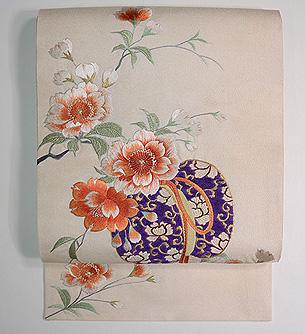 蹴鞠に八重桜刺繍名古屋帯