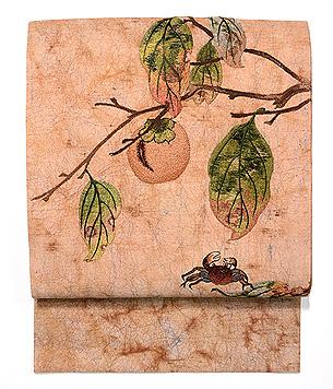 柿と蟹刺繍名古屋帯