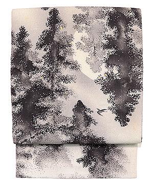 樹林に月と雁の名古屋帯