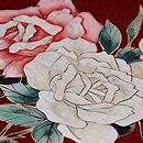 小豆地薔薇の名古屋帯 質感・風合