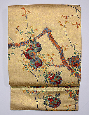 ザクロの織りの名古屋帯