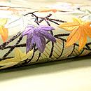 鶸色に秋の庭図名古屋帯 質感・風合