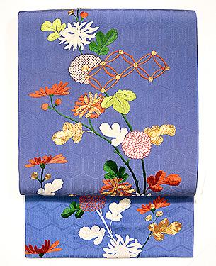 菊枝に七宝繋ぎの刺繍名古屋帯