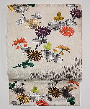 江戸小袖崩し白地に菊の名古屋帯