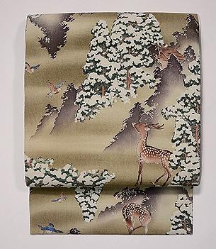 雪中鹿の図名古屋帯