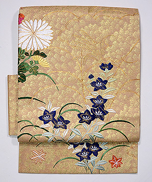 桔梗の刺繍名古屋帯