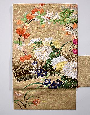 柴垣に秋野の刺繍袋帯