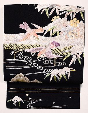 雪持ち笹に雀の刺繍名古屋帯