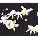 雪持ち笹に雀の刺繍名古屋帯 前中心