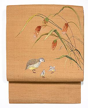 粟にうずらの図名古屋帯