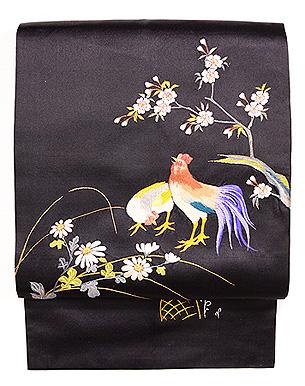 桜菊に尾長鳥の名古屋帯