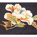 黒地牡丹の刺繍名古屋帯 前中心