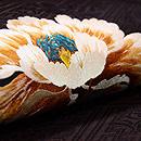 黒地牡丹の刺繍名古屋帯 質感・風合