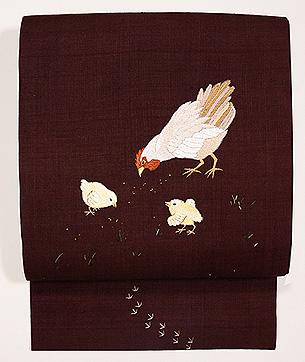茶地鶏親子の名古屋帯