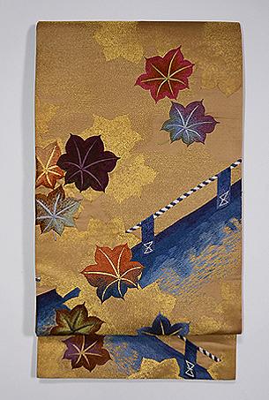 金地紅葉刈りの袋帯