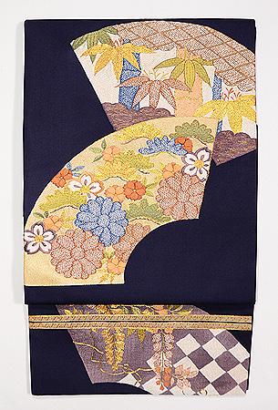 紺地扇面の袋帯