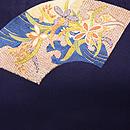 紺地扇面の袋帯 前中心