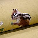 シロツメクサに子リスの刺繍名古屋帯 質感・風合