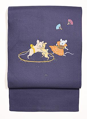 ネズミの相撲刺繍名古屋帯