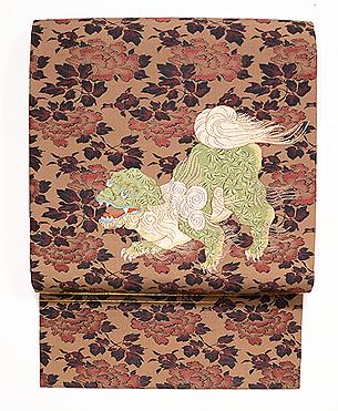 唐獅子牡丹の袋帯