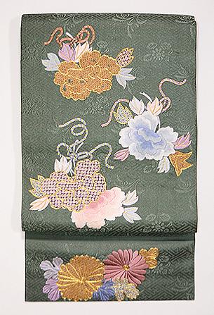 牡丹と菊の丸帯