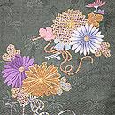 牡丹と菊の丸帯 菊柄お太鼓部分