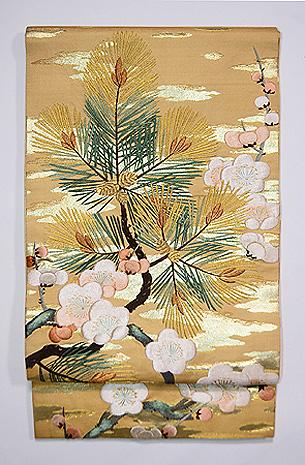 梅に松の袋帯