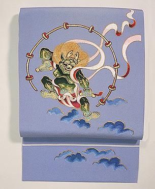 風神雷神図刺繍名古屋帯