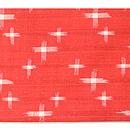 朱赤に十字絣名古屋帯 前中心