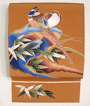 つがいの雉刺繍名古屋帯