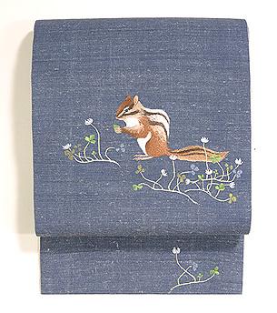 シロツメ草と小リス刺繍開き名古屋帯