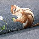 シロツメ草と小リス刺繍開き名古屋帯 質感・風合