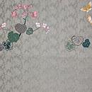 赤い首輪の猫に秋海棠刺繍開き名古屋帯 前中心