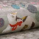 赤い首輪の猫に秋海棠刺繍開き名古屋帯 質感・風合