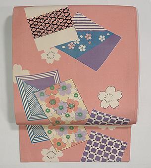 色紙に桜の染め名古屋帯